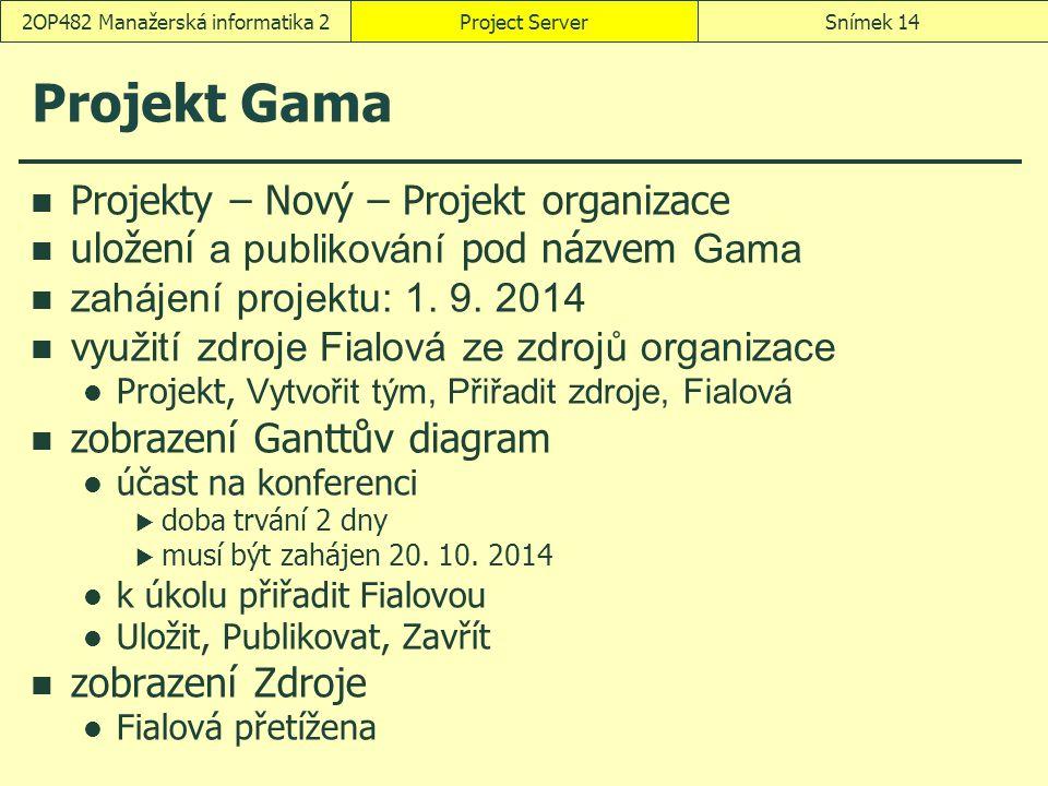 Project ServerSnímek 142OP482 Manažerská informatika 2 Projekt Gama Projekty – Nový – Projekt organizace uložení a publikování pod názvem Gama zahájen