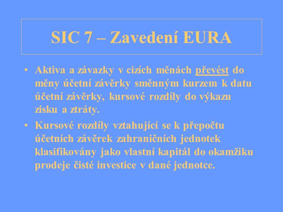 SIC 7 – Zavedení EURA Aktiva a závazky v cizích měnách převést do měny účetní závěrky směnným kurzem k datu účetní závěrky, kursové rozdíly do výkazu zisku a ztráty.