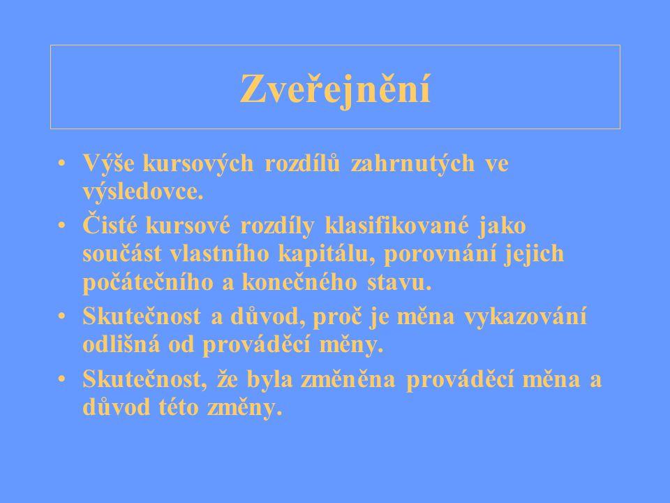 Zveřejnění Výše kursových rozdílů zahrnutých ve výsledovce.