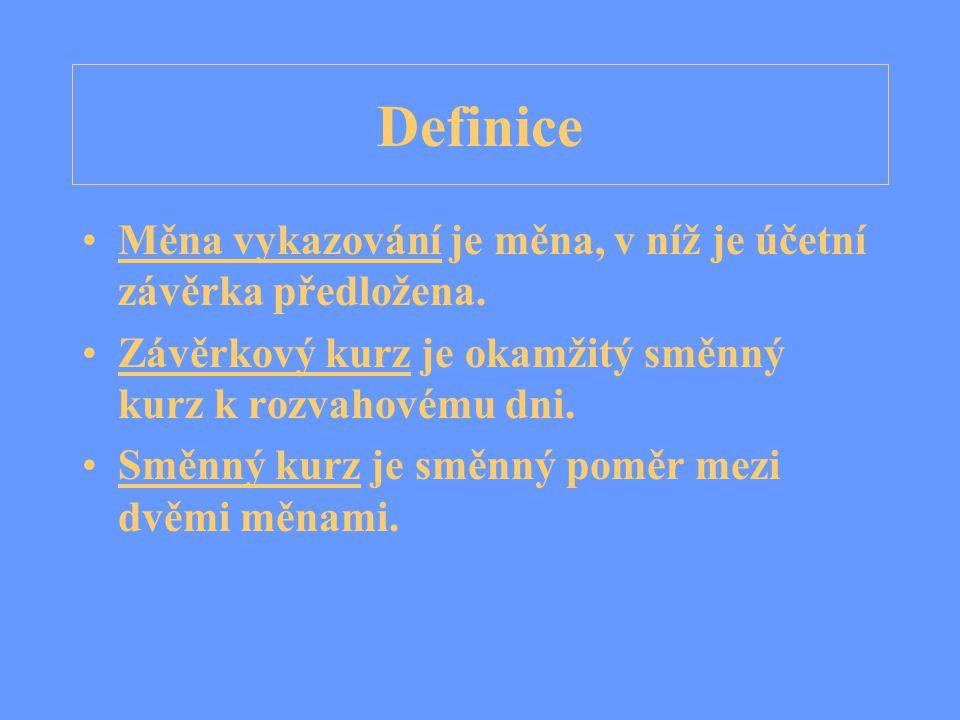Definice Měna vykazování je měna, v níž je účetní závěrka předložena.
