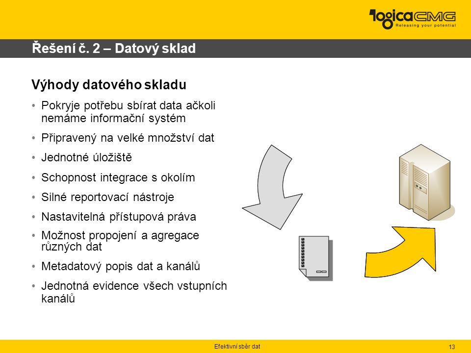 Efektivní sběr dat 13 Řešení č. 2 – Datový sklad Výhody datového skladu Pokryje potřebu sbírat data ačkoli nemáme informační systém Připravený na velk