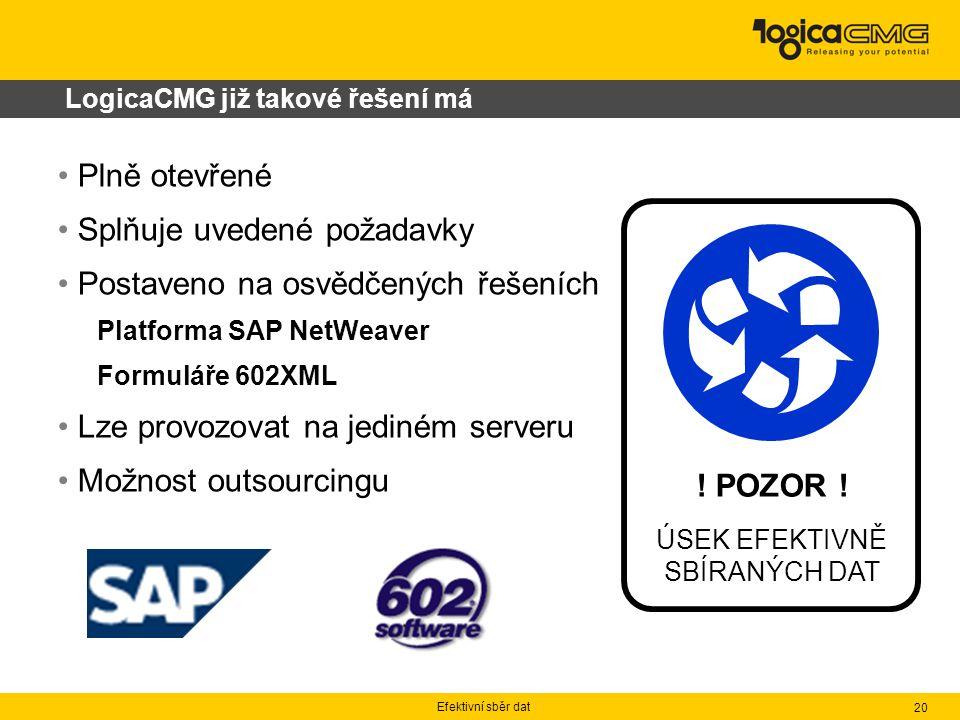 Efektivní sběr dat 20 Plně otevřené Splňuje uvedené požadavky Postaveno na osvědčených řešeních Platforma SAP NetWeaver Formuláře 602XML Lze provozovat na jediném serveru Možnost outsourcingu LogicaCMG již takové řešení má .
