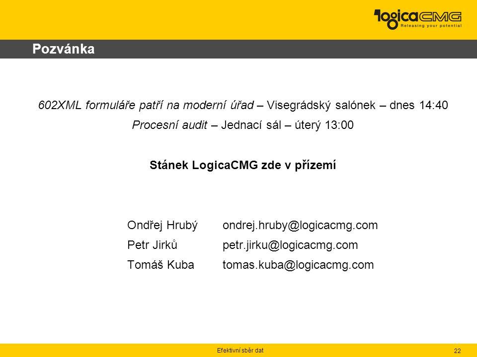 Efektivní sběr dat 22 Pozvánka 602XML formuláře patří na moderní úřad – Visegrádský salónek – dnes 14:40 Procesní audit – Jednací sál – úterý 13:00 St