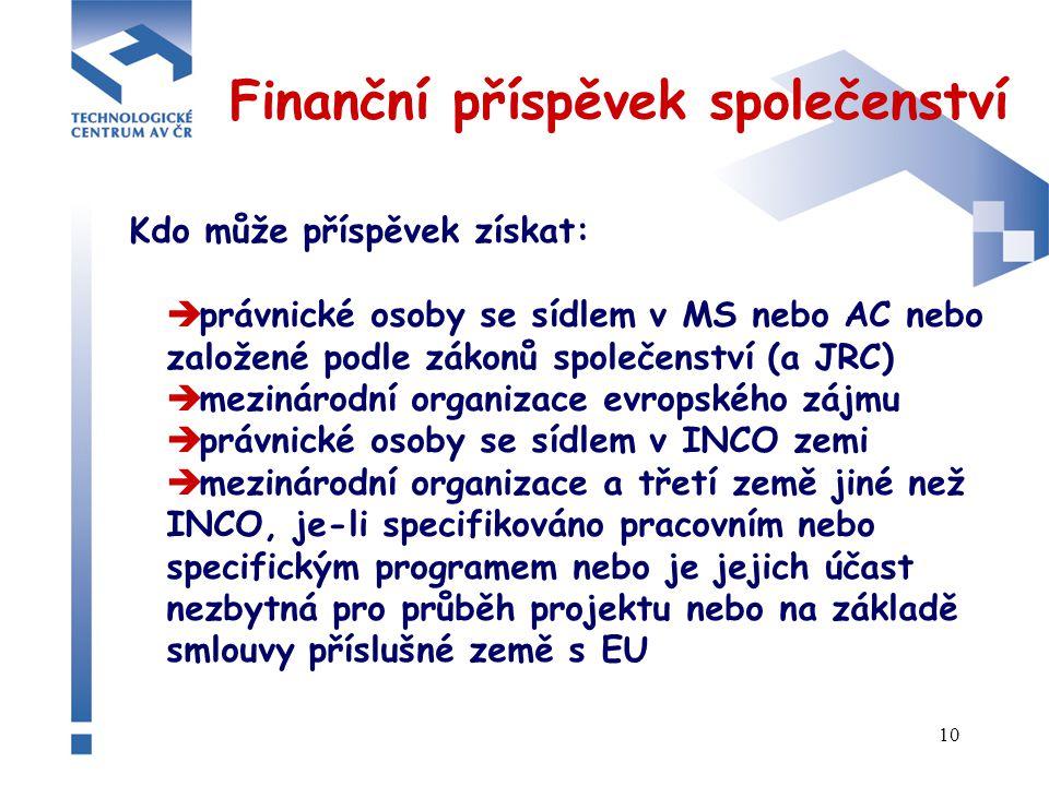 10 Finanční příspěvek společenství Kdo může příspěvek získat:  právnické osoby se sídlem v MS nebo AC nebo založené podle zákonů společenství (a JRC)  mezinárodní organizace evropského zájmu  právnické osoby se sídlem v INCO zemi  mezinárodní organizace a třetí země jiné než INCO, je-li specifikováno pracovním nebo specifickým programem nebo je jejich účast nezbytná pro průběh projektu nebo na základě smlouvy příslušné země s EU