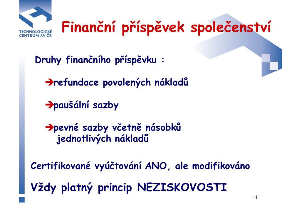 11 Finanční příspěvek společenství Druhy finančního příspěvku :  refundace povolených nákladů  paušální sazby  pevné sazby včetně násobků jednotlivých nákladů Certifikované vyúčtování ANO, ale modifikováno Vždy platný princip NEZISKOVOSTI