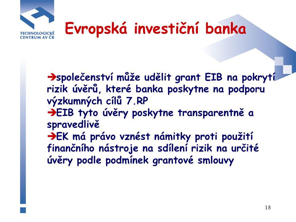 18 Evropská investiční banka  společenství může udělit grant EIB na pokrytí rizik úvěrů, které banka poskytne na podporu výzkumných cílů 7.RP  EIB tyto úvěry poskytne transparentně a spravedlivě  EK má právo vznést námitky proti použití finančního nástroje na sdílení rizik na určité úvěry podle podmínek grantové smlouvy