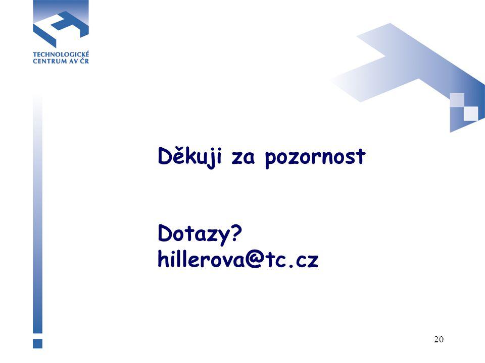 20 Děkuji za pozornost Dotazy hillerova@tc.cz