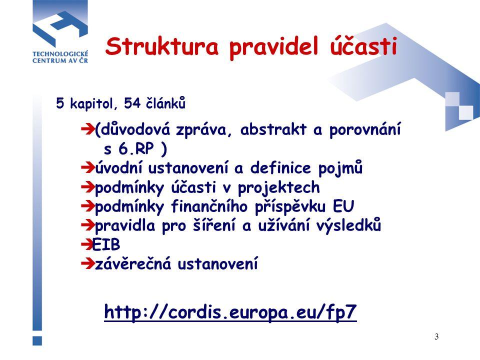 3 Struktura pravidel účasti 5 kapitol, 54 článků  (důvodová zpráva, abstrakt a porovnání s 6.RP )  úvodní ustanovení a definice pojmů  podmínky účasti v projektech  podmínky finančního příspěvku EU  pravidla pro šíření a užívání výsledků  EIB  závěrečná ustanovení http://cordis.europa.eu/fp7