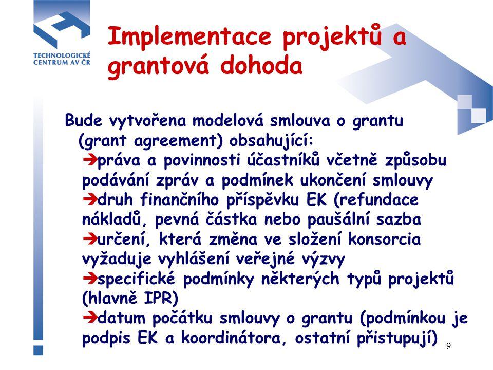 9 Implementace projektů a grantová dohoda Bude vytvořena modelová smlouva o grantu (grant agreement) obsahující:  práva a povinnosti účastníků včetně způsobu podávání zpráv a podmínek ukončení smlouvy  druh finančního příspěvku EK (refundace nákladů, pevná částka nebo paušální sazba  určení, která změna ve složení konsorcia vyžaduje vyhlášení veřejné výzvy  specifické podmínky některých typů projektů (hlavně IPR)  datum počátku smlouvy o grantu (podmínkou je podpis EK a koordinátora, ostatní přistupují)
