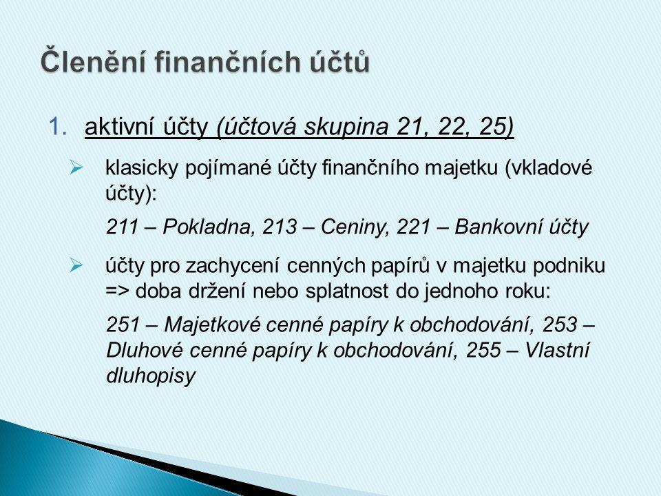 1.aktivní účty (účtová skupina 21, 22, 25)  klasicky pojímané účty finančního majetku (vkladové účty): 211 – Pokladna, 213 – Ceniny, 221 – Bankovní účty  účty pro zachycení cenných papírů v majetku podniku => doba držení nebo splatnost do jednoho roku: 251 – Majetkové cenné papíry k obchodování, 253 – Dluhové cenné papíry k obchodování, 255 – Vlastní dluhopisy