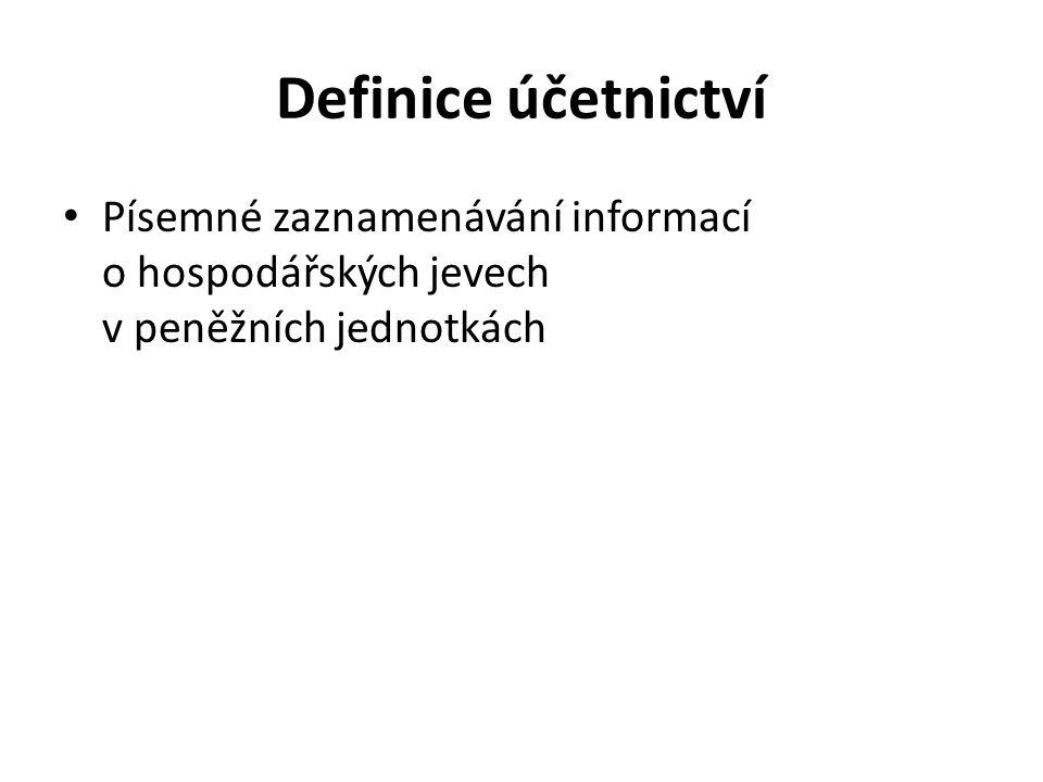 Definice účetnictví Písemné zaznamenávání informací o hospodářských jevech v peněžních jednotkách