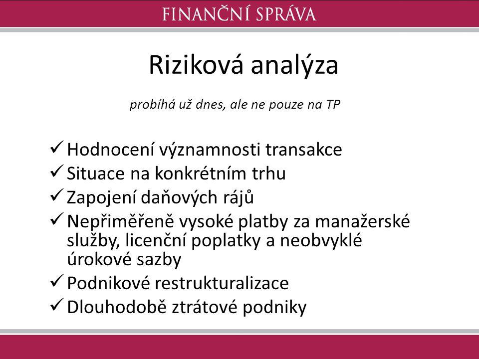 Riziková analýza probíhá už dnes, ale ne pouze na TP Hodnocení významnosti transakce Situace na konkrétním trhu Zapojení daňových rájů Nepřiměřeně vys