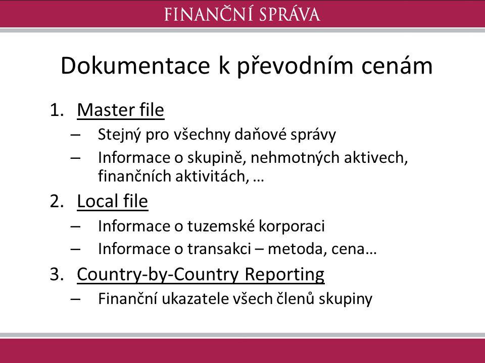Dokumentace k převodním cenám 1.Master file – Stejný pro všechny daňové správy – Informace o skupině, nehmotných aktivech, finančních aktivitách, … 2.