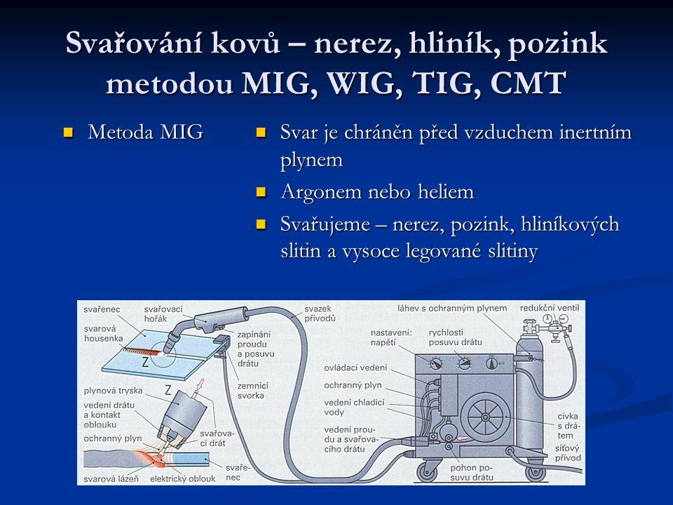 Svařování kovů – nerez, hliník, pozink metodou MIG, WIG, TIG, CMT Metoda MIG Metoda MIG Svar je chráněn před vzduchem inertním plynem Argonem nebo hel