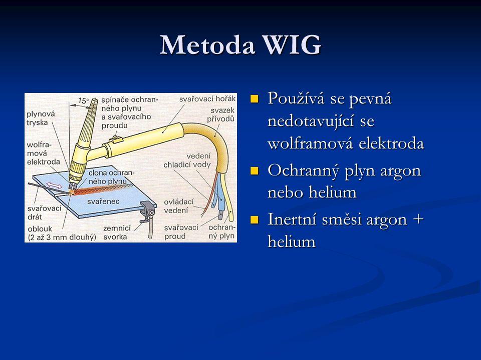 Stejnosměrné obloukové svařování – WIG Záporně pólovanou wolframovou elektrodou Záporně pólovanou wolframovou elektrodou Použití – ke svařování legovaných ocelí a neželezných kovů (nerez, měď) Použití – ke svařování legovaných ocelí a neželezných kovů (nerez, měď) Elektroda má ostrý hrot, zaručuje stabilní oblouk, přesné vedení Elektroda má ostrý hrot, zaručuje stabilní oblouk, přesné vedení Průvar se svarovou lázní je úzký a hluboký Průvar se svarovou lázní je úzký a hluboký