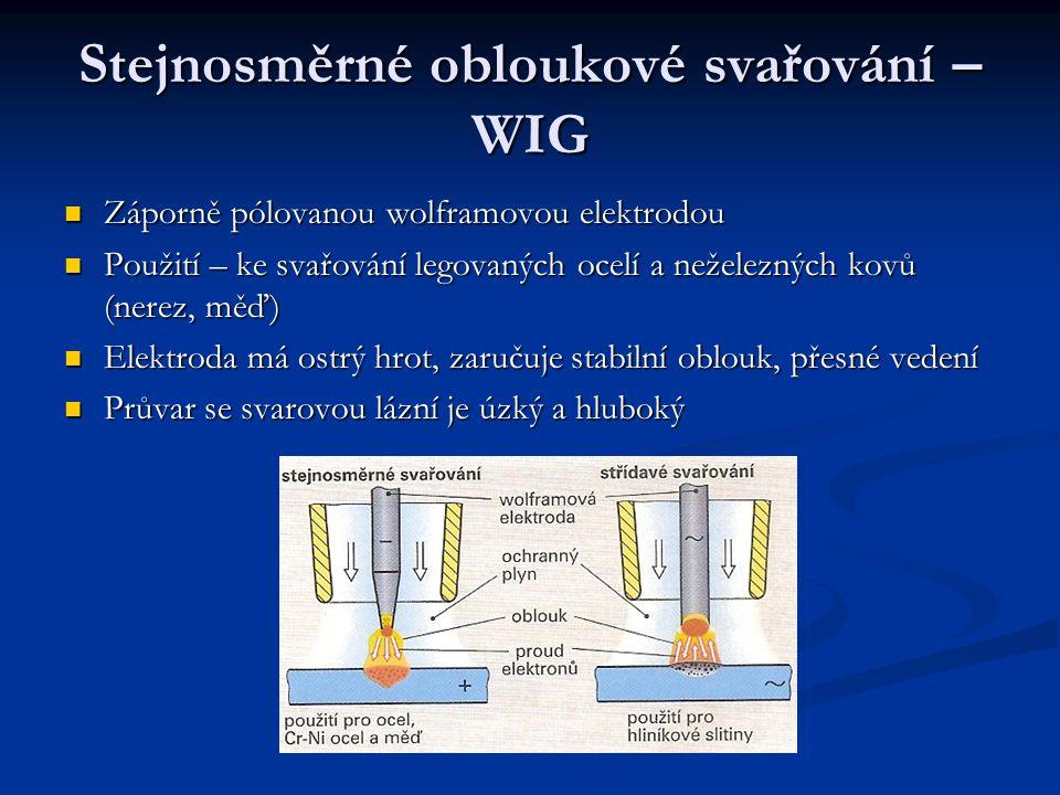 Střídavé obloukové svařování – WIG Svařování lehkých kovů – hlavně hliníku Svařování lehkých kovů – hlavně hliníku Při kladné půlvlně střídavého proudu se elektrony pohybují od svařence k elektrodě, vytrhují částečky povrchového oxidu, má mnohem vyšší bod tání (2500°C) než hliník (660°C) Při kladné půlvlně střídavého proudu se elektrony pohybují od svařence k elektrodě, vytrhují částečky povrchového oxidu, má mnohem vyšší bod tání (2500°C) než hliník (660°C)