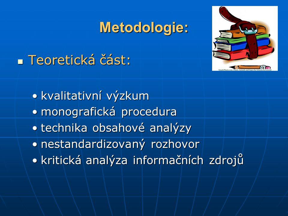 Metodologie: Teoretická část: Teoretická část: kvalitativní výzkumkvalitativní výzkum monografická proceduramonografická procedura technika obsahové analýzytechnika obsahové analýzy nestandardizovaný rozhovornestandardizovaný rozhovor kritická analýza informačních zdrojůkritická analýza informačních zdrojů