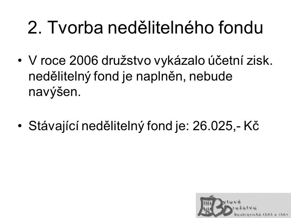 2. Tvorba nedělitelného fondu V roce 2006 družstvo vykázalo účetní zisk. nedělitelný fond je naplněn, nebude navýšen. Stávající nedělitelný fond je: 2