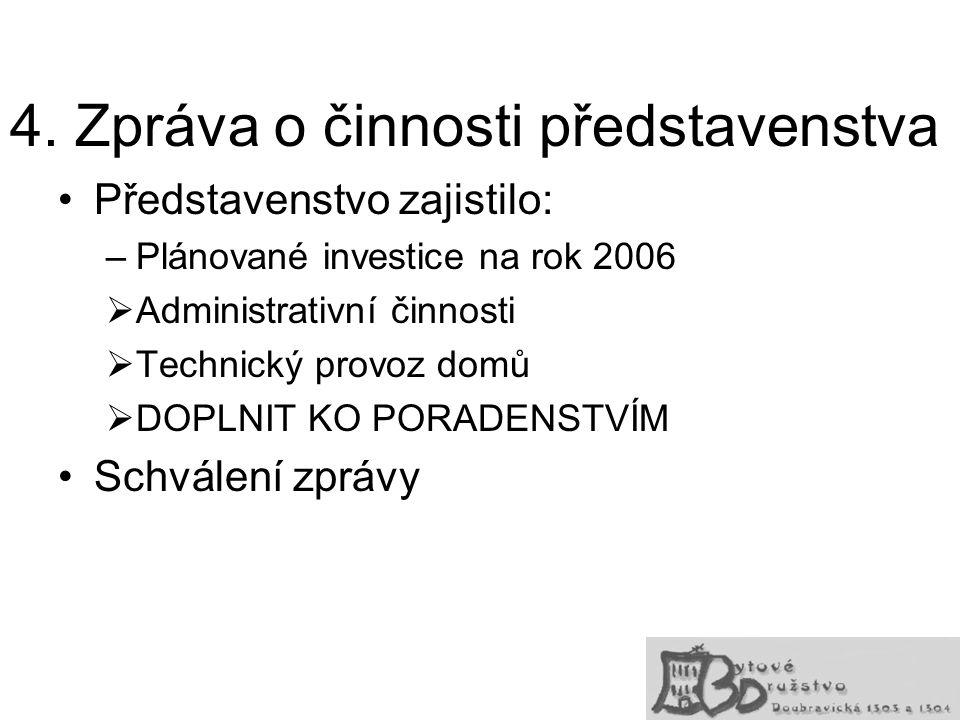 4. Zpráva o činnosti představenstva Představenstvo zajistilo: –Plánované investice na rok 2006  Administrativní činnosti  Technický provoz domů  DO