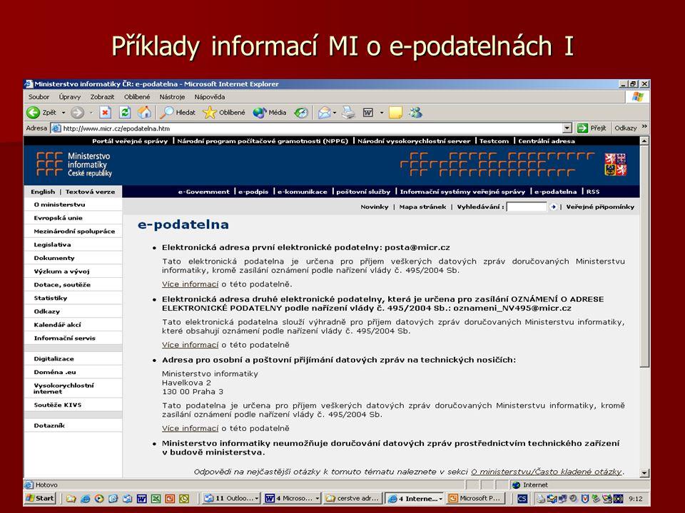 Příklady informací MI o e-podatelnách I