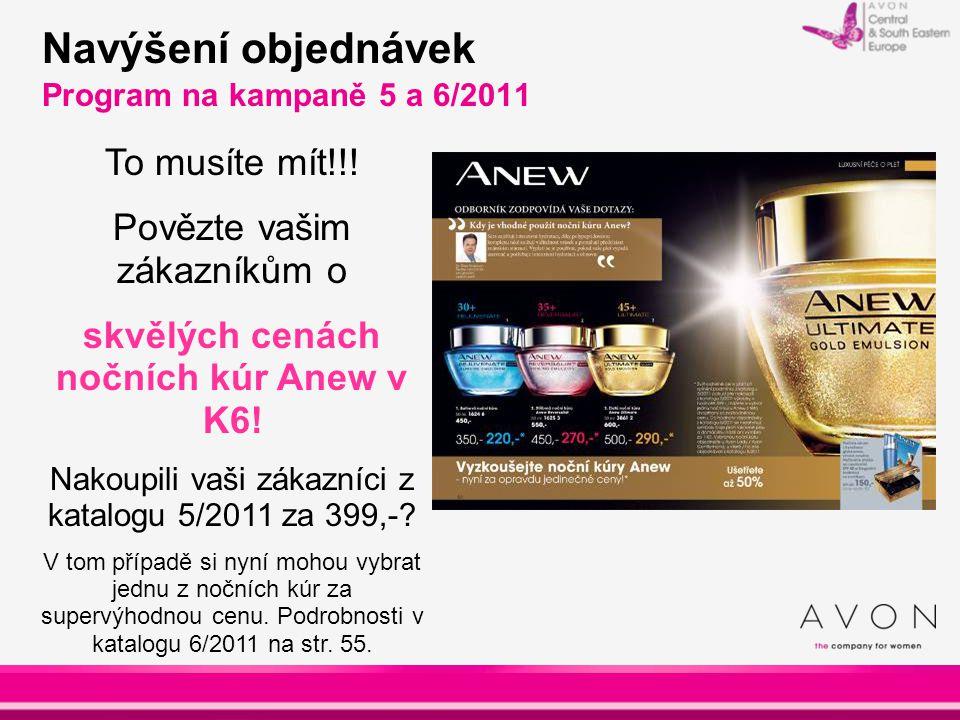 Navýšení objednávek Program na kampaně 5 a 6/2011 To musíte mít!!! Povězte vašim zákazníkům o skvělých cenách nočních kúr Anew v K6! Nakoupili vaši zá