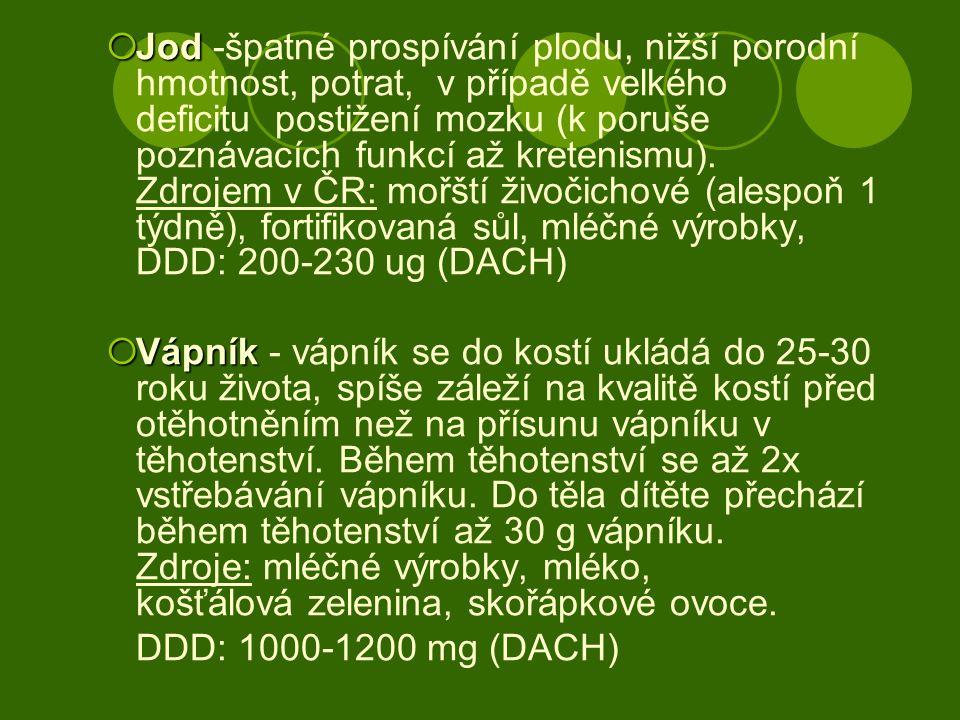  Jod  Jod -špatné prospívání plodu, nižší porodní hmotnost, potrat, v případě velkého deficitu postižení mozku (k poruše poznávacích funkcí až krete