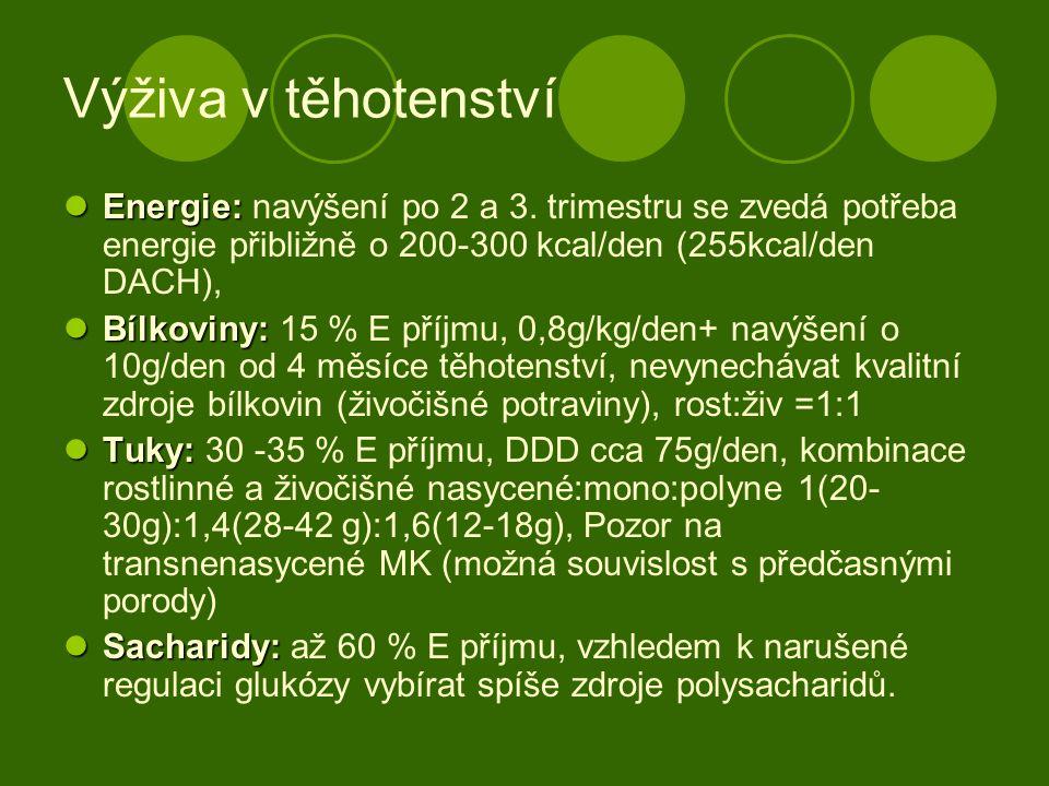 Výživa v těhotenství Energie: Energie: navýšení po 2 a 3. trimestru se zvedá potřeba energie přibližně o 200-300 kcal/den (255kcal/den DACH), Bílkovin