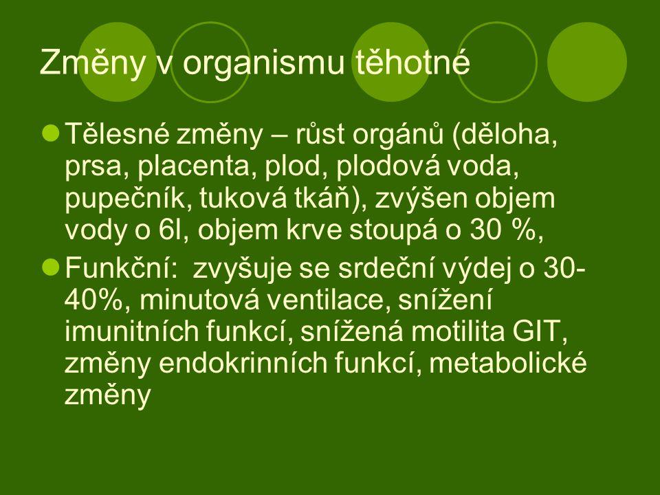 Změny v organismu těhotné Tělesné změny – růst orgánů (děloha, prsa, placenta, plod, plodová voda, pupečník, tuková tkáň), zvýšen objem vody o 6l, obj