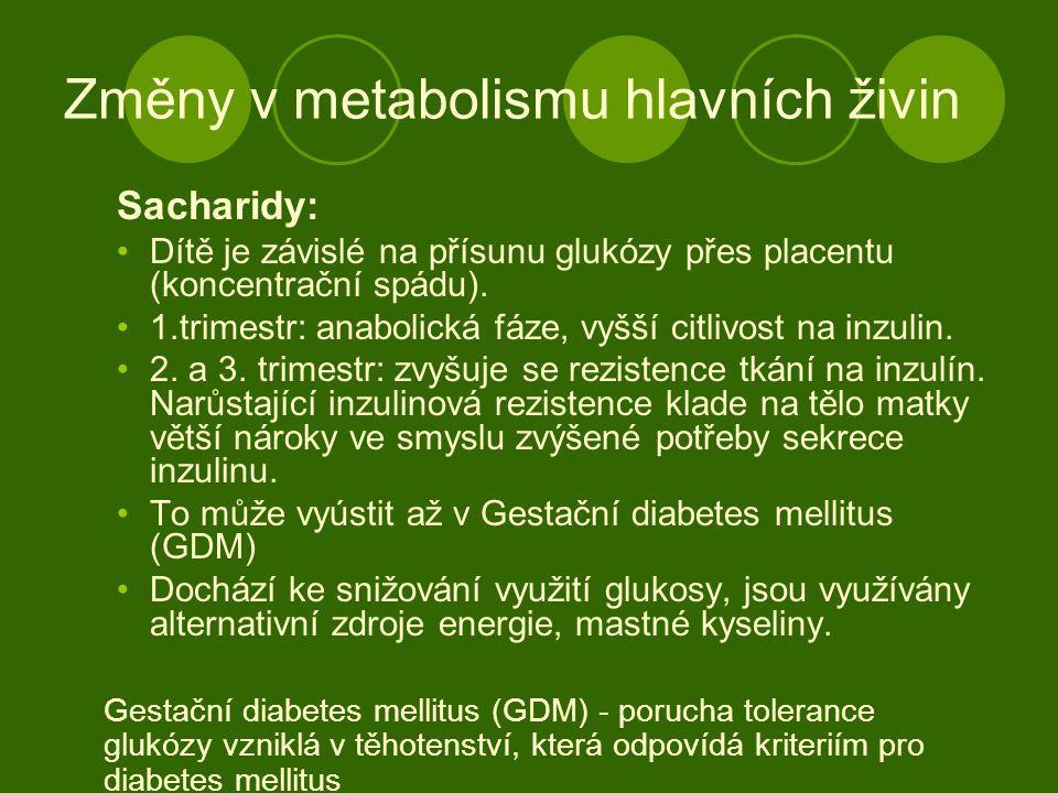 Změny v metabolismu hlavních živin Sacharidy: Dítě je závislé na přísunu glukózy přes placentu (koncentrační spádu). 1.trimestr: anabolická fáze, vyšš