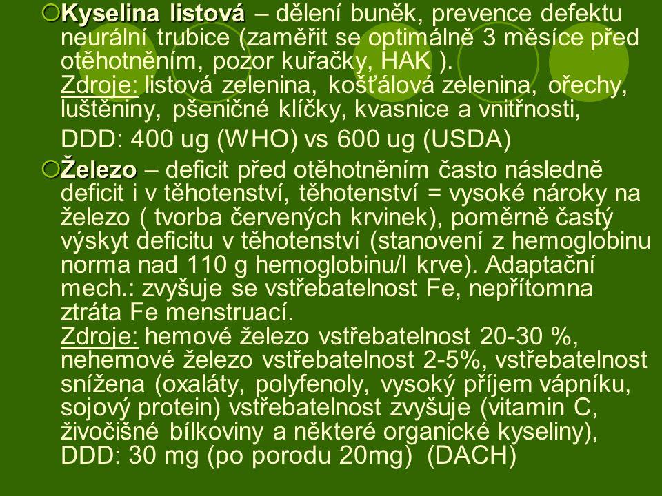  Kyselina listová  Kyselina listová – dělení buněk, prevence defektu neurální trubice (zaměřit se optimálně 3 měsíce před otěhotněním, pozor kuřačky