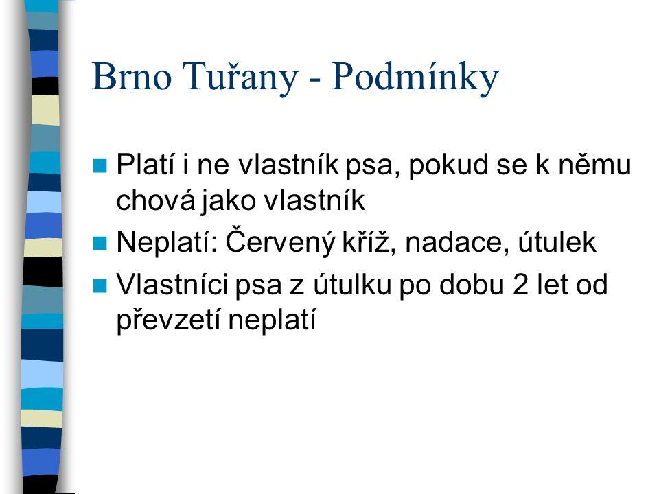 Brno Tuřany - Podmínky Platí i ne vlastník psa, pokud se k němu chová jako vlastník Neplatí: Červený kříž, nadace, útulek Vlastníci psa z útulku po do