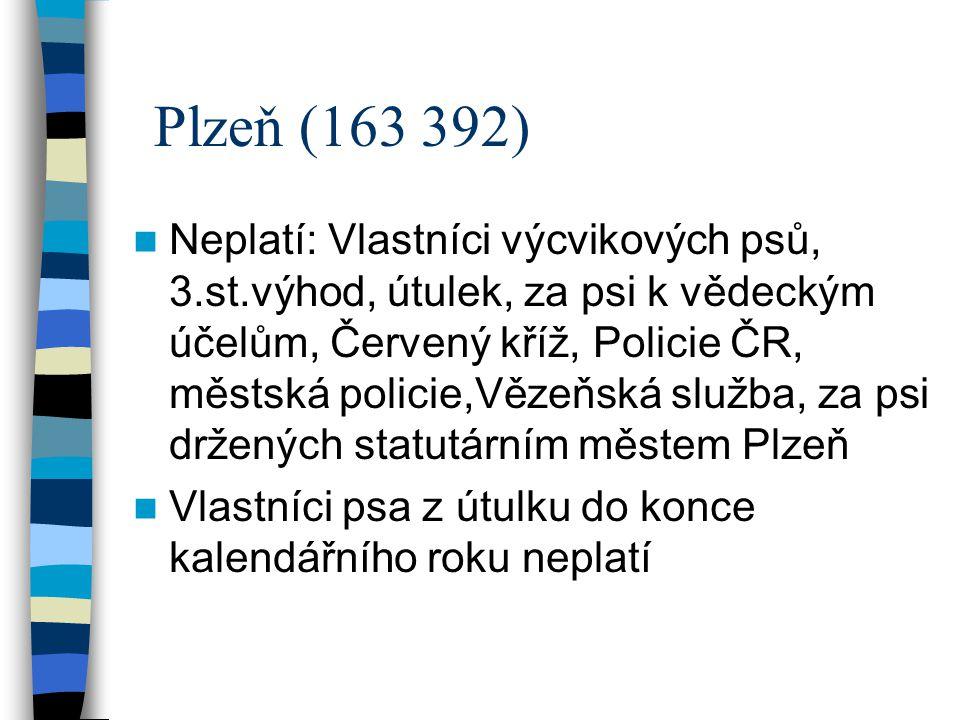Plzeň (163 392) Neplatí: Vlastníci výcvikových psů, 3.st.výhod, útulek, za psi k vědeckým účelům, Červený kříž, Policie ČR, městská policie,Vězeňská s