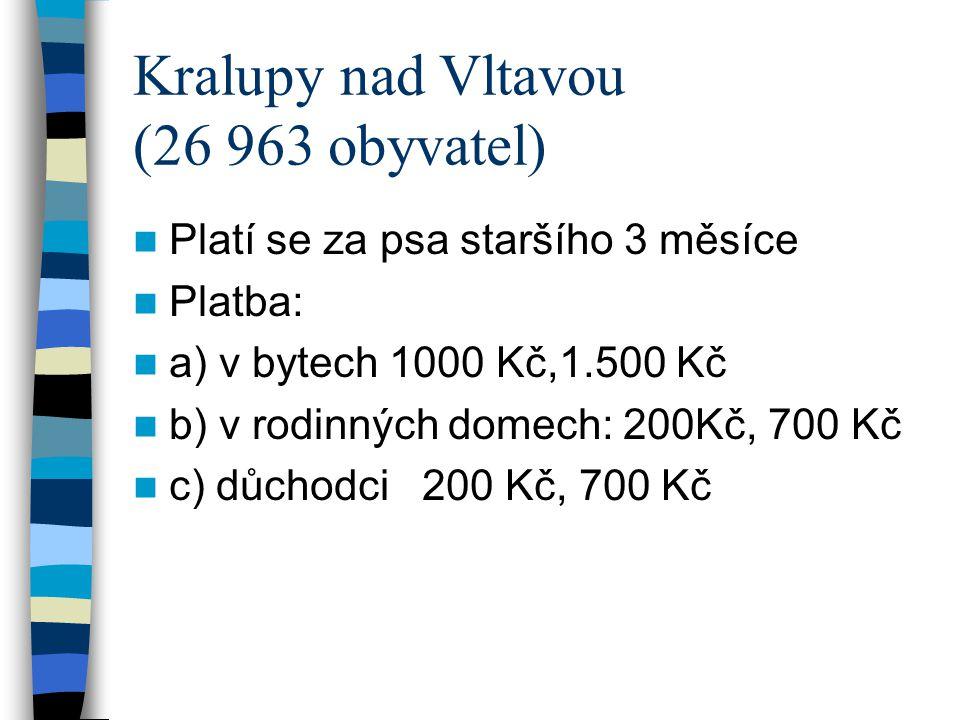 Kralupy nad Vltavou (26 963 obyvatel) Platí se za psa staršího 3 měsíce Platba: a) v bytech 1000 Kč,1.500 Kč b) v rodinných domech: 200Kč, 700 Kč c) d