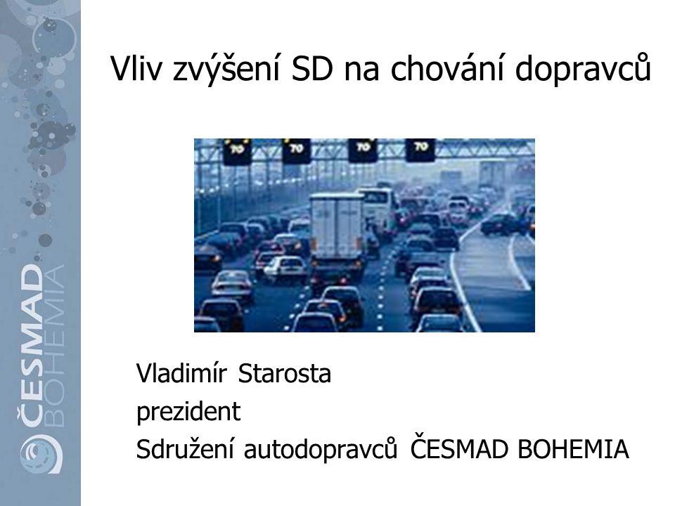 Dosavadní vývoj od začátku jsme upozorňovali, že navýšení SD z nafty o 10% nebude znamenat navýšení příjmů státního rozpočtu dohoda s premiérem Fischerem o vyhodnocení po 6 měsících nebyla naplněna výsledkem je, že od roku 2010 rostou výkony silniční dopravy, ale výběr spotřební daně se nejen nezvýšil, ale stagnuje a je nižší než v roce 2008 ČR tak přichází ročně o 6-8 mld.
