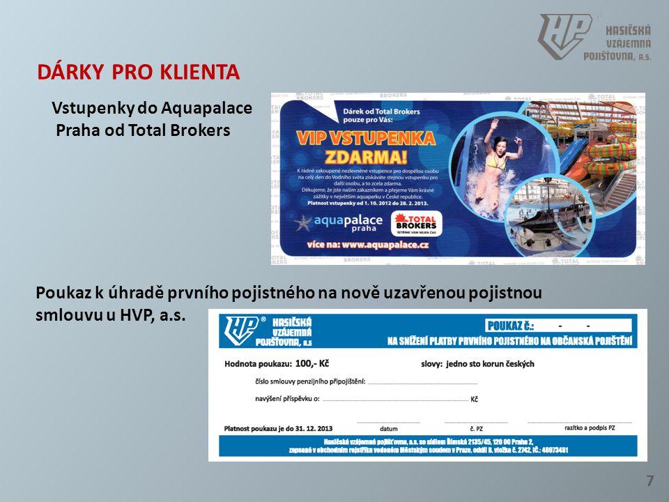 7 DÁRKY PRO KLIENTA Vstupenky do Aquapalace Praha od Total Brokers Poukaz k úhradě prvního pojistného na nově uzavřenou pojistnou smlouvu u HVP, a.s.