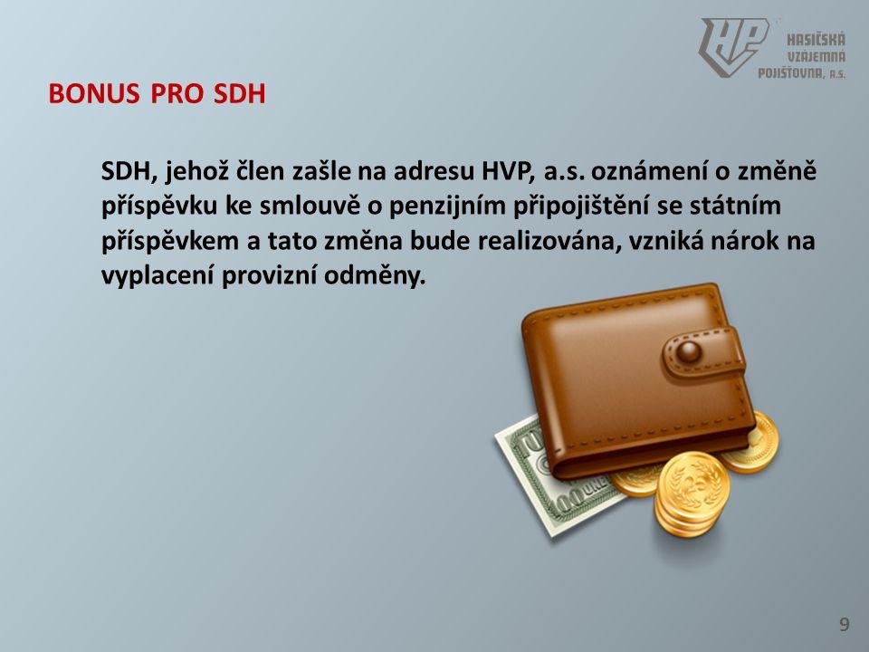 9 BONUS PRO SDH SDH, jehož člen zašle na adresu HVP, a.s. oznámení o změně příspěvku ke smlouvě o penzijním připojištění se státním příspěvkem a tato