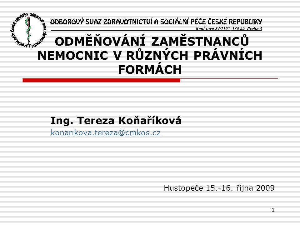 1 ODMĚŇOVÁNÍ ZAMĚSTNANCŮ NEMOCNIC V RŮZNÝCH PRÁVNÍCH FORMÁCH Ing. Tereza Koňaříková konarikova.tereza@cmkos.cz Hustopeče 15.-16. října 2009