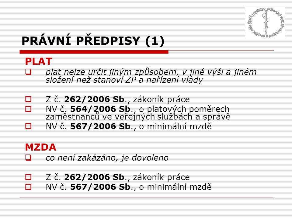 PRÁVNÍ PŘEDPISY (1) PLAT  plat nelze určit jiným způsobem, v jiné výši a jiném složení než stanoví ZP a nařízení vlády  Z č. 262/2006 Sb., zákoník p