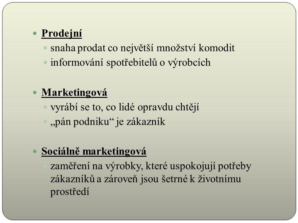 """Prodejní snaha prodat co největší množství komodit informování spotřebitelů o výrobcích Marketingová vyrábí se to, co lidé opravdu chtějí """"pán podniku je zákazník Sociálně marketingová zaměření na výrobky, které uspokojují potřeby zákazníků a zároveň jsou šetrné k životnímu prostředí"""