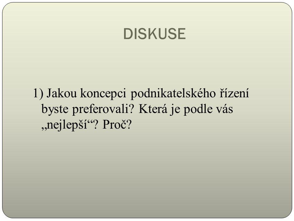 DISKUSE 1) Jakou koncepci podnikatelského řízení byste preferovali.
