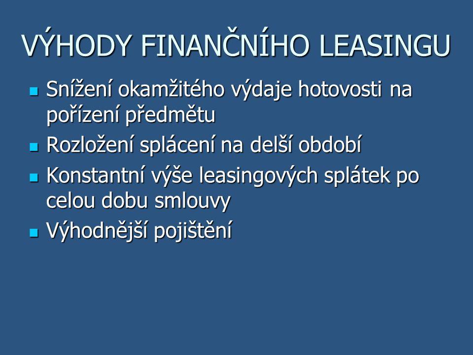 LEASINGOVÉ SPLÁTKY AKONTACE – první zvýšená splátka, udává se v % z ceny automobilu (min.