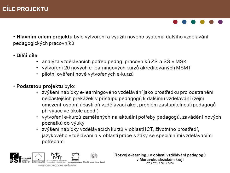 CÍLE PROJEKTU Rozvoj e-learningu v oblasti vzdělávání pedagogů v Moravskoslezském kraji CZ.1.07/1.3.05/11.0008 Hlavním cílem projektu bylo vytvoření a využití nového systému dalšího vzdělávání pedagogických pracovníků Dílčí cíle: analýza vzdělávacích potřeb pedag.