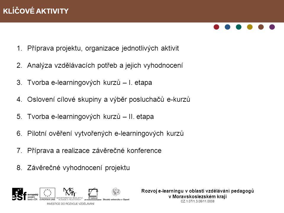 KLÍČOVÉ AKTIVITY Rozvoj e-learningu v oblasti vzdělávání pedagogů v Moravskoslezském kraji CZ.1.07/1.3.05/11.0008 1.Příprava projektu, organizace jednotlivých aktivit 2.Analýza vzdělávacích potřeb a jejich vyhodnocení 3.Tvorba e-learningových kurzů – I.