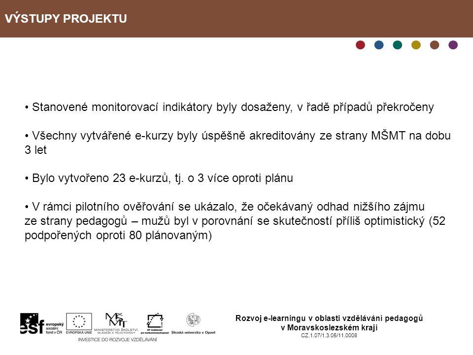 VÝSTUPY PROJEKTU Rozvoj e-learningu v oblasti vzdělávání pedagogů v Moravskoslezském kraji CZ.1.07/1.3.05/11.0008 Stanovené monitorovací indikátory byly dosaženy, v řadě případů překročeny Všechny vytvářené e-kurzy byly úspěšně akreditovány ze strany MŠMT na dobu 3 let Bylo vytvořeno 23 e-kurzů, tj.