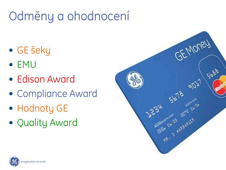 Odměny a ohodnocení GE šeky EMU Edison Award Compliance Award Hodnoty GE Quality Award