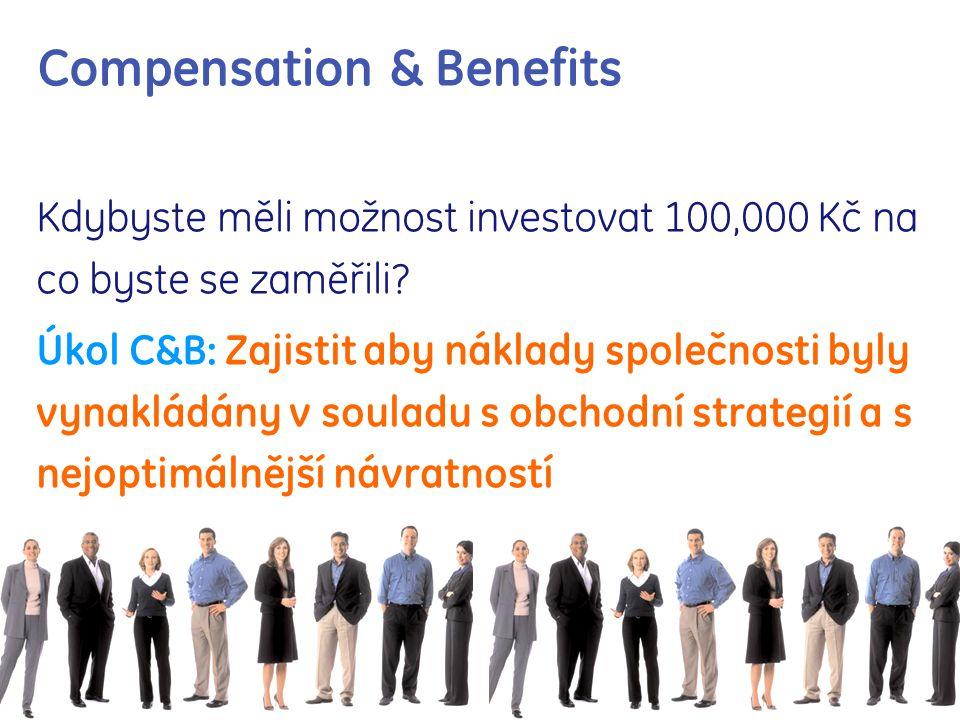 Compensation & Benefits Kdybyste měli možnost investovat 100,000 Kč na co byste se zaměřili? Úkol C&B: Zajistit aby náklady společnosti byly vynakládá