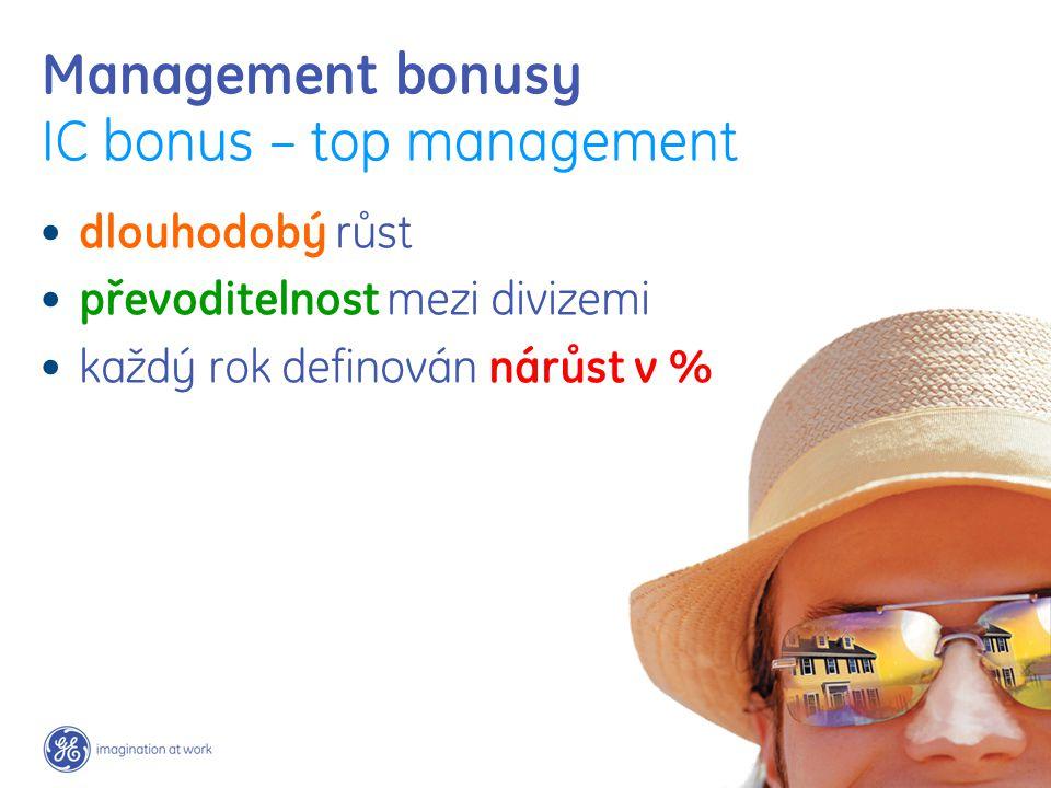Management bonusy IC bonus – top management dlouhodobý růst převoditelnost mezi divizemi každý rok definován nárůst v %