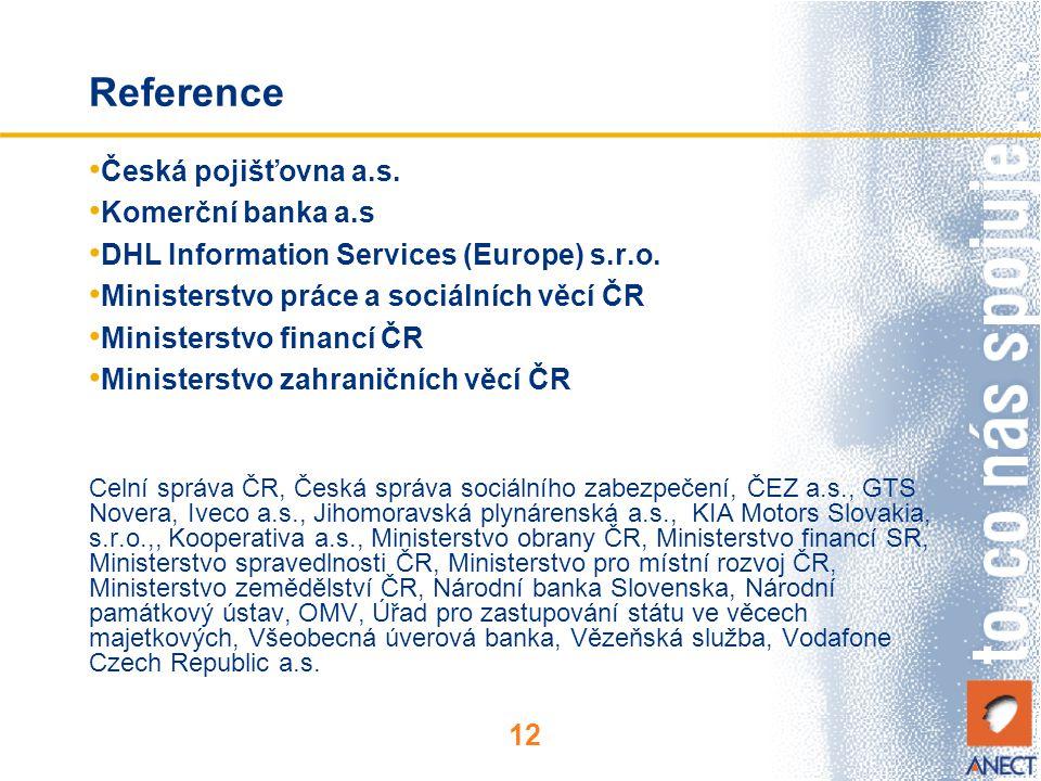 12 Reference Česká pojišťovna a.s. Komerční banka a.s DHL Information Services (Europe) s.r.o. Ministerstvo práce a sociálních věcí ČR Ministerstvo fi