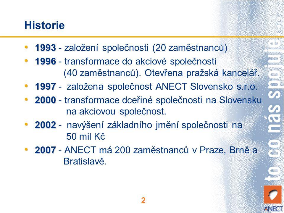 2 Historie 1993 1993 - založení společnosti (20 zaměstnanců) 1996 1996 - transformace do akciové společnosti (40 zaměstnanců). Otevřena pražská kancel