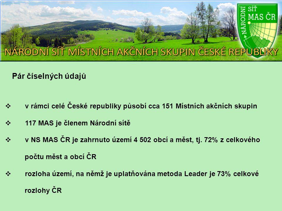 Pár číselných údajů  v rámci celé České republiky působí cca 151 Místních akčních skupin  117 MAS je členem Národní sítě  v NS MAS ČR je zahrnuto území 4 502 obcí a měst, tj.